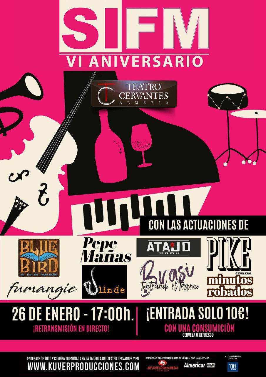 cartel IV aniversario Sí FM Minutos robados Teatro Cervantes